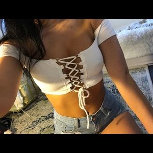 Off shoulder lace up crop top